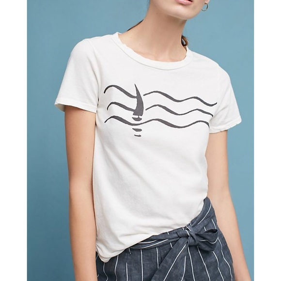 Anthropologie Graphic Tee Women's Small Boat Waves